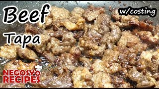 Beef Tapa Recipe for Food Business w/ Costing