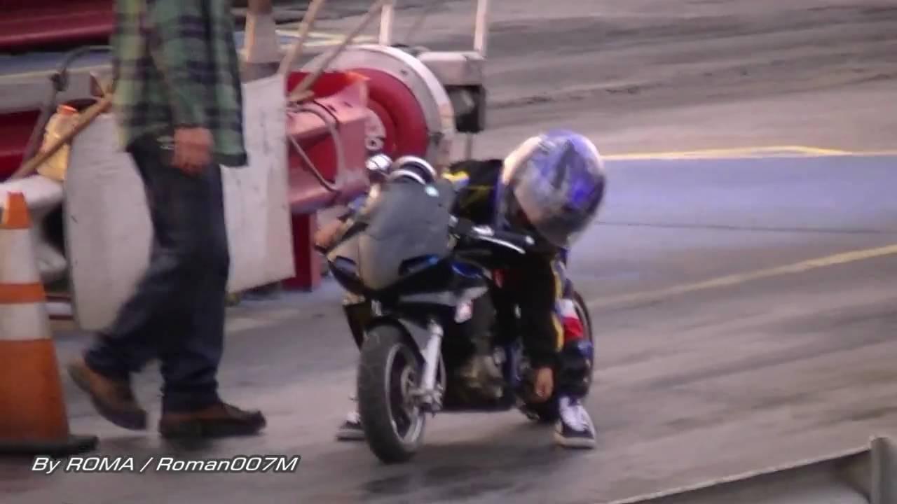 Little kid at the dragstrip, mini bike pull - YouTube