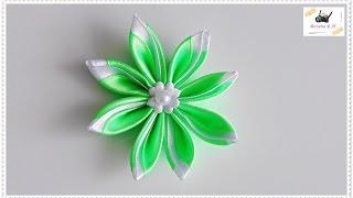kwiat ze wstążki 🌼kanzashi 🌼 jak wykonać🌼krok po kroku🌼79