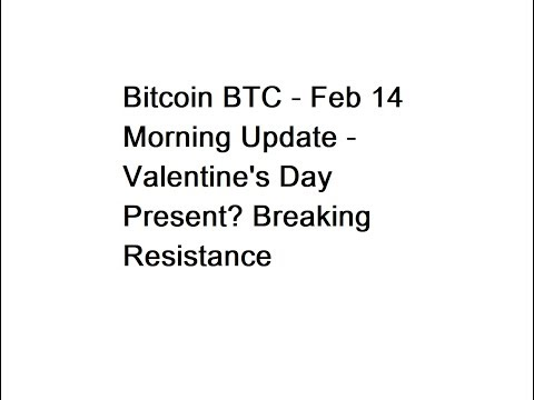 Bitcoin BTC - Feb 14 Morning Update - Valentine's Day Present? Breaking Resistance