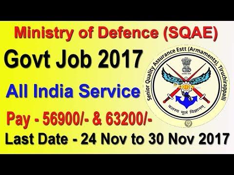 Government Job, All India, Male/Female DGQA Defence Recruitment 2017