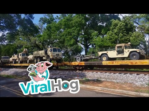 Armored Brigade Combat Team Heading Out By Rail || ViralHog