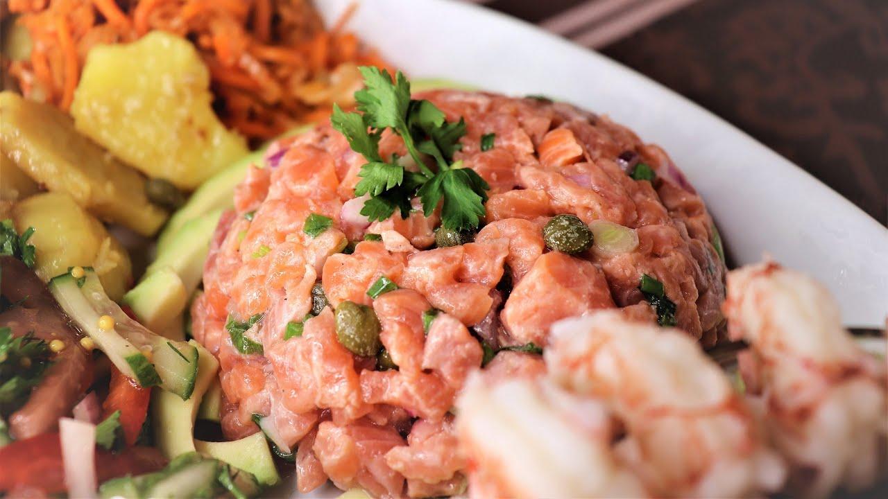 Recipe | Тартар из лосося | простой рецепт | Легкий овощной салат | готовим для MUKBANG с Верняевой