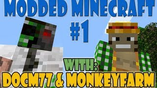 Modded Minecraft Feed the Beast #1 w/ Docm77 and Monkeyfarm