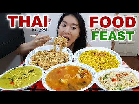 THAI FOOD! Pad Thai Noodles, Spicy Tom Yum Soup, Green Curry & Pineapple Rice | Mukbang Eating Show