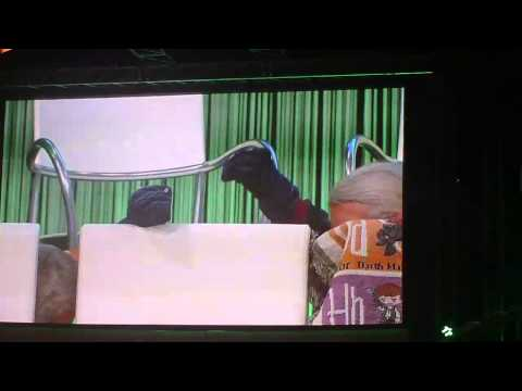 Improvised puppeteering by Tim Rose and Toby Philpott at Celebration Europe