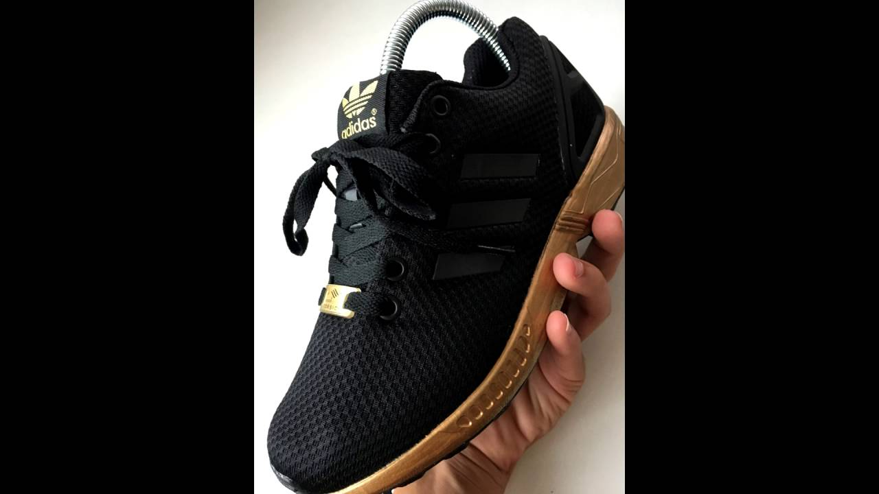 4bd314d92e4 Adidas Zx Flux Black Gold REVIEW - YouTube