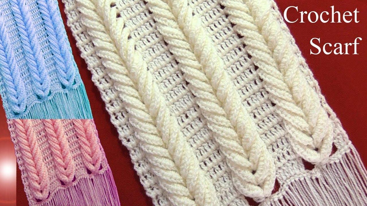 Bufanda chalina en punto espigas de trigo en relieve tejido a ...
