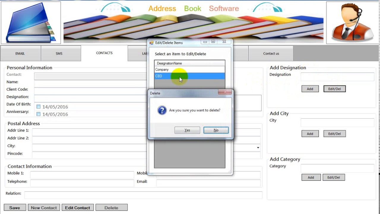 address book software contact manager software