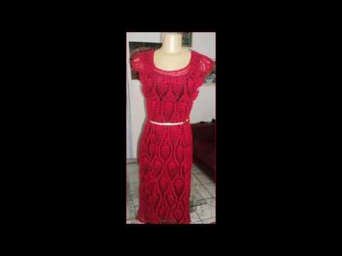 14da22a0d Vestido de crochê ponto abacaxi. - YouTube
