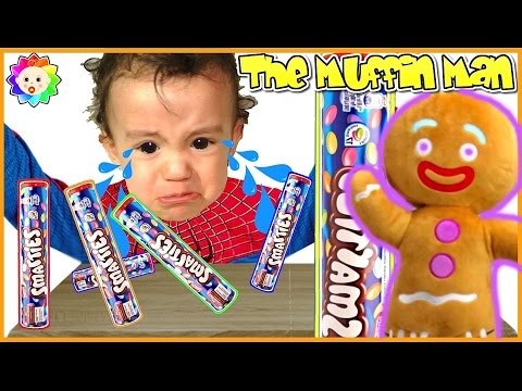 Thumbnail: The MUFFIN MAN Song for Learn COLORS of Rainbow Colorful Smarties Bad Baby Crying SHREK Baby Songs
