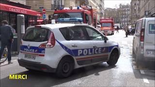 Police en Urgence avec Sirène Américaine . Police Cars responding with American siren Paris
