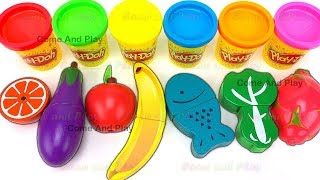 Fruit and Veg Turns into Play Doh Balls Learn Colors and Surprise Toys
