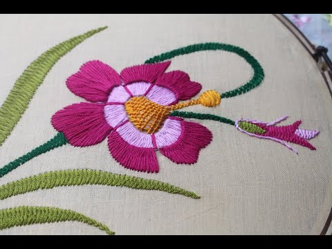 Hand embroidery designs | Beautiful flower design for cushion cover