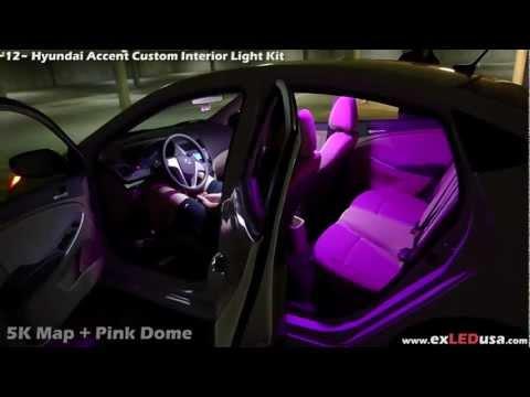 exLED Hyundai Accent Custom Interior Light Kit, 5000K pure white Map Light Pink Dome Light