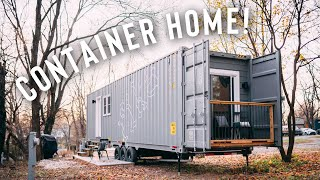 Minimal Shipping Container Home On Wheels!   Airbnb Tour!