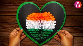 DIY 3D Heart Shape ❤️💚 Tricolour Pop Up Card |  Independence Day Greeting Card |  Artsy Madhu 30