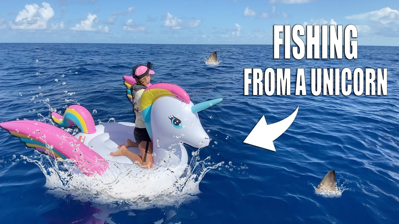 SHARK FISHING ON INFLATABLE RAFT - UNICORN POOL FLOATY 20 miles offshore 🦄 | Gale Force Twins