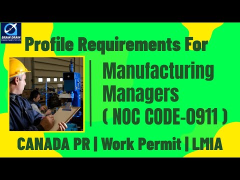 Manufacturing Managers - Profile Description for Canada Work permit, LMIA and PR | NOC CODE 0911