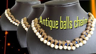 DIY//How to make Antique balls Silk thread chain /Fancy Chain/Antique balls chain