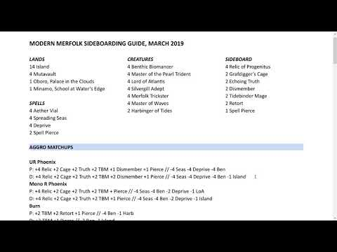 Modern Merfolk Sideboarding Guide - March 2019 - YouTube