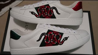 c9bf8830fd5 Gucci White Snake Ace Sneakers Pickup Unboxing by WuWuMan
