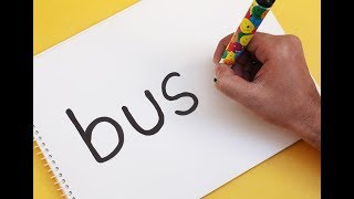 How to turn words BUS into a Cartoon SCHOOL BUS ! Learn Text To Picture Art for kids