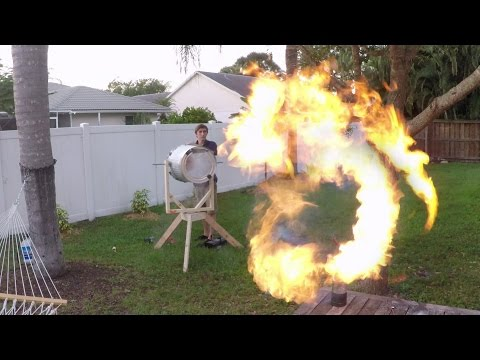 Homemade Propane Vortex Cannon Shoots Donuts of Fire
