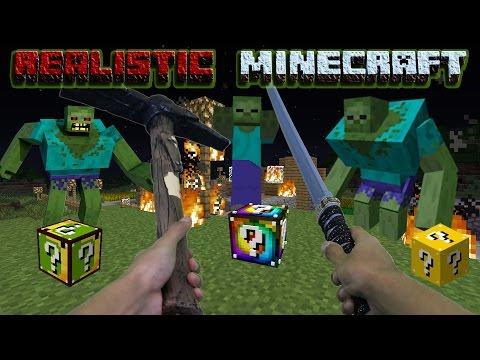 Realistic Minecraft - 1000 Lucky Block Challenge! - Lucky Block Mod + 1000 Zombies