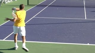 Juan Martin del Potro Forehand and Backhand from Back Perspective - BNP Paribas Open 2013