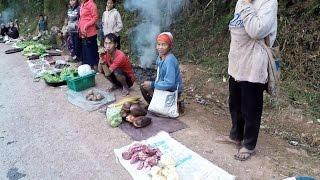 หมู่บ้านอาข่าลาวนำของป่ามาขายริมถนนก่อนถึงเมืองสิง Lao Akha Village in Luoang Namtha