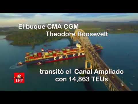 Canal de Panamá recibe al portacontenedores Theodore Roosevelt