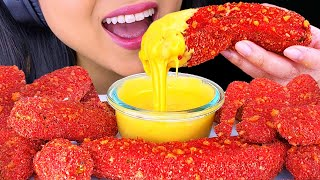 ASMR Hot Cheetos Fried Pickles and Cheese Sauce (Crunchy Eating Sounds) NO Talking