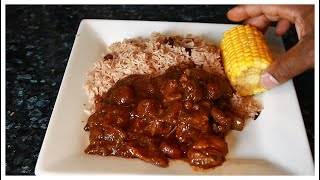 Stew Chicken with Rice & Peas ,Corn  | Chef Ricardo  | Jamaican Rice And Peas With Stew Chicken !!
