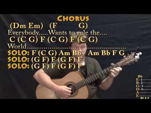 Everybody Wants To Rule The World Fingerstyle Guitar Cover Lesson
