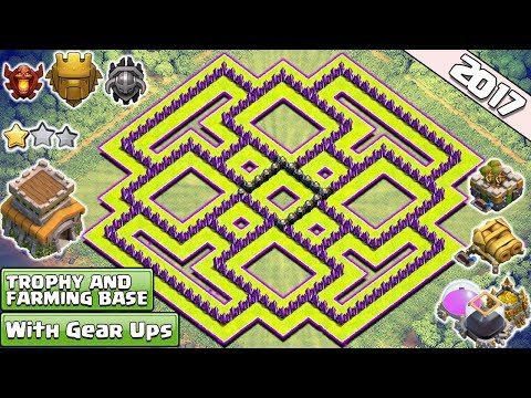 New 'BEST' Town Hall 8 (TH8) TROPHY/Farming Base Design!! With Gear Up Cannon & Archer Tower - COC