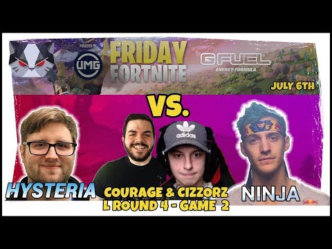 Hysteria  Friday Fortnite with Ninja  HELLO AGAIN vs CouRage and Cizzorz L Round 4  Game 2