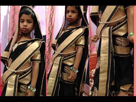 Wearing saree for kids#3 | Dhoti style wearing saree
