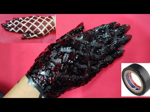 How To Apply Full Back Hand Mehendi Design With Cello Tape | Best Sudanese Cello Tape Mehendi Trick