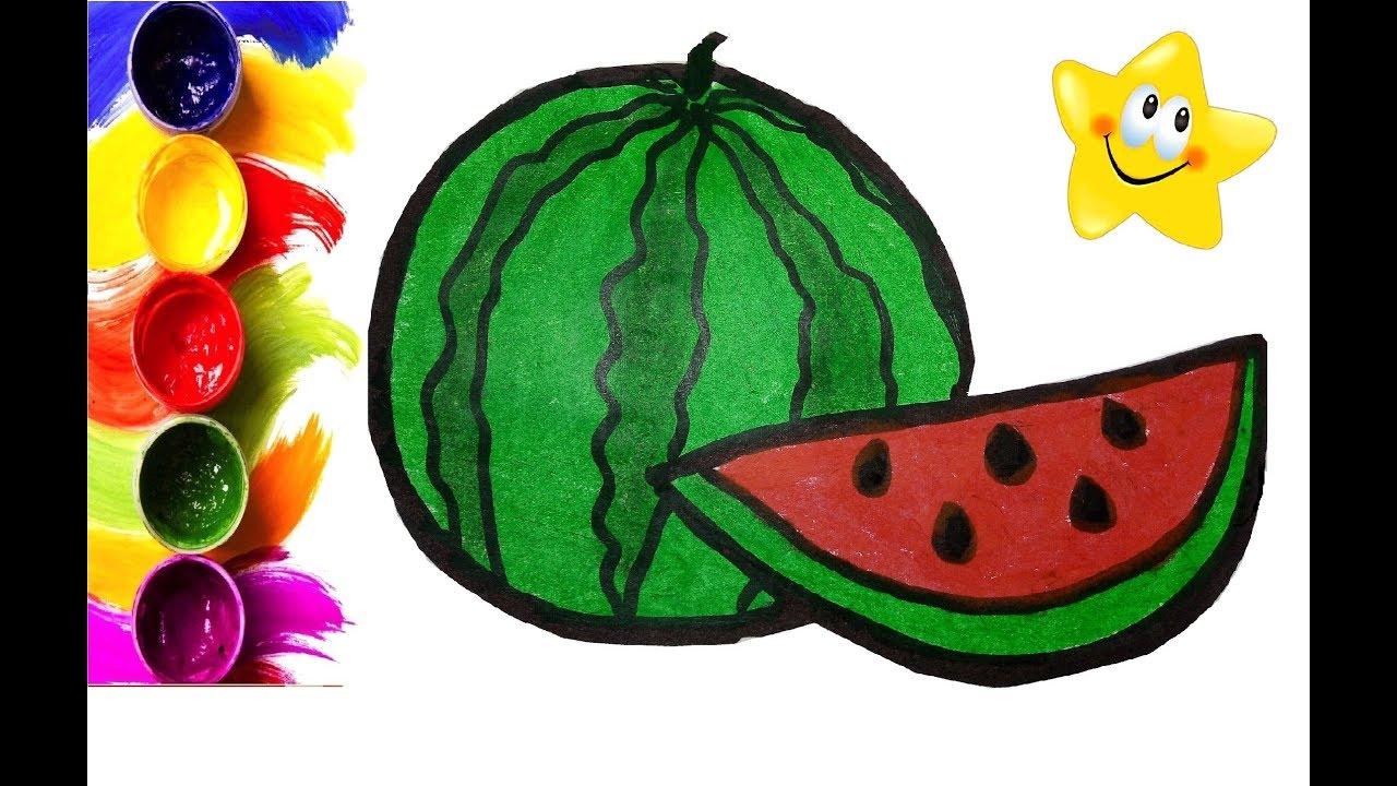 Раскраска для детей АРБУЗ. Мультик раскраска. Рисуем АРБУЗ ...