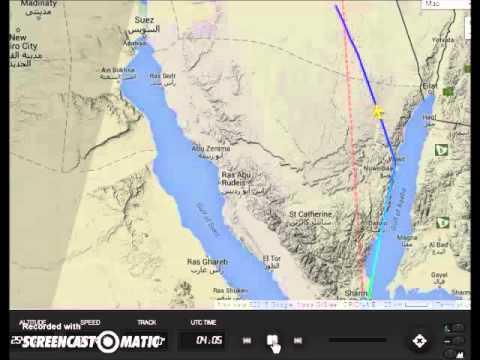 7K9268 / KGL9268 flight  path to crash site in Sinai /Flightradar24.com