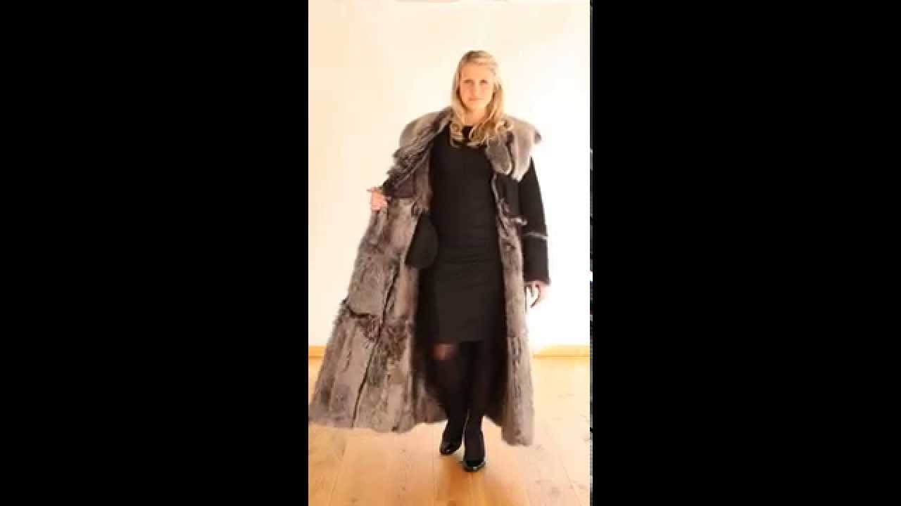 Finest Full Length Hooded Toscana Sheepskin Coat in Black - Luna