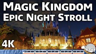 Magic Kingdome Epic Night Stroll 4K Train RTV1 Castle