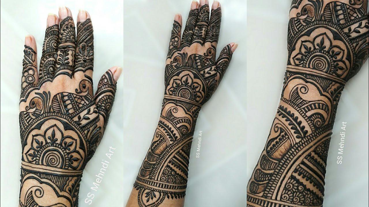 New simple full hand dulhan mehndi design||arabic mehndi ...