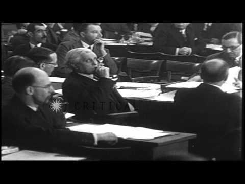 Delegates from various nations meet at the World Disarmament Conference in Geneva...HD Stock Footage