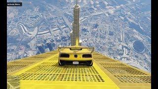 قراند 5 : قفزة مستحيلة من فوق برج خليفة ثم الى سطحه | GTA cars jump over khalifa tower
