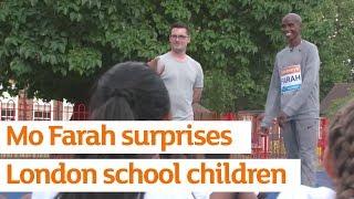 Mo Farah surprises London school children