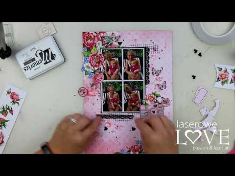 Scrapbooking Layout - Coral Romance Papers - Laserowe Love
