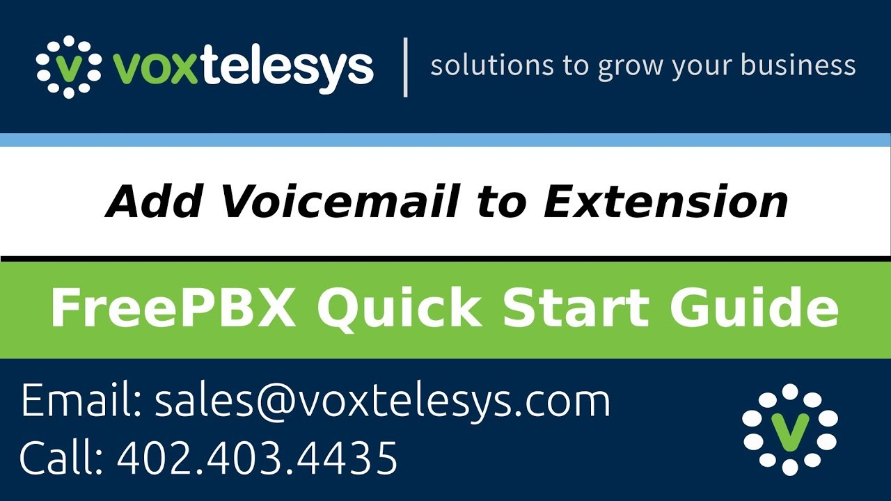 FreePBX Quick Start Guide - Add Voicemail to Extension