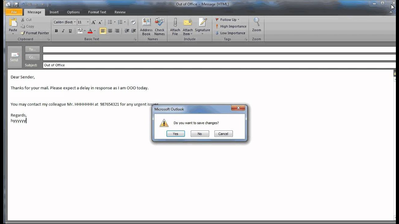 how to set out office in outlook 2010